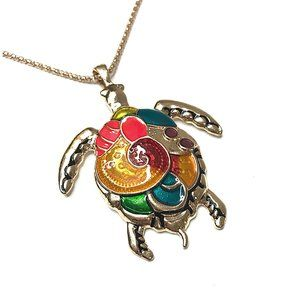 Jewelry - Turtle Pendant Necklace Gold with Enamel Inlay